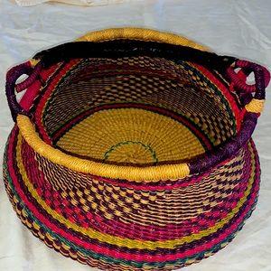 Boho Woven basket with handle